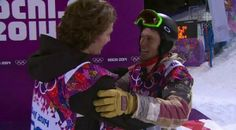 Shaun White congratulates Iouri Podladtchikov on his gold medal. Love their mutual respect for each other!