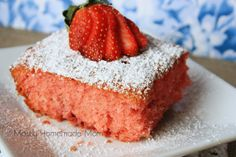 Mostly Homemade Mom: Fresh Strawberry Jello Cake Trying this with raspberry jello and 3/4 cup cooked sweetened rhubarb