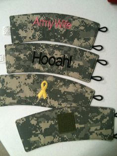 Show your support! ACU military camouflage coffee cozy with your choice of embroidery! #1. Army Wife. In your choice of color.  #2. Hooah!. In your choic