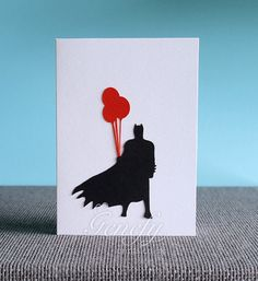 Superhero Batman Card - Silhouette Paper Cut Out - Birthday / Invitation Cards / Greeting Cards