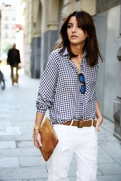 long bob, gingham shirt, mirrored sunglasses, clutch & white jeans #style #fashion #hair #lob