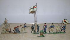Antike & seltene Zinn Soldaten - Marine Kolonial Diorama - in G. Heyde…