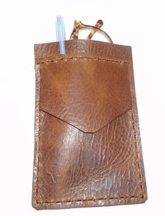 Brown Leather Pocket Protector sleeve by G2Pleather on Etsy