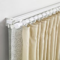 IKEA - VIDGA, Triple track and rod set, By using several layers of curtains… Curtain Track System, Ceiling Curtain Track, Ceiling Curtains, Gold Curtains, Diy Curtains, Curtains With Blinds, Ikea Panel Curtains, Ikea Curtain Rods, Wave Curtains