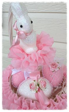 Custom For Cindy Basket With Vintage Style Easter Bunny Easter Decoration For Easter Party Tvat
