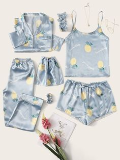 To find out about the Pineapple Print Satin Pajama Set at SHEIN, part of our latest Night Sets ready to shop online today! Cute Pajama Sets, Cute Pjs, Cute Pajamas, Pyjama Sets, Satin Pyjama Set, Satin Pajamas, Pyjamas, Cute Sleepwear, Sleepwear Women