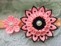 Pink Flower Kanzashi Headband Little Princess Baby Bow Beaded