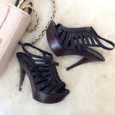 black caged heels these high heels are perfect for any night out! black caged 5.5 inch heel with zipper detail. 1.25 inch platform, makes it easier and pretty comfy to walk in. worn a few times, but still in great condition! Jessica Simpson Shoes Heels