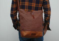 Canvas Bags – Messenger bag waxed canvas chocolatte color – a unique product by NATURAL-HERITAGE-BAGS via en.DaWanda.com