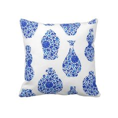 Blue and White Chinoiserie Pillow  zazzle.com/thepinkpagoda*