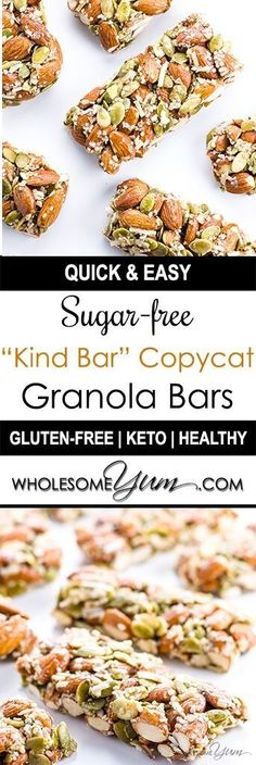 Sugar-free Granola Bars – Kind Bar Recipe Copycat (Low Carb, Paleo) - Want to know how to make homemade Kind Bars? Try this Kind Bar recipe copycat. They're the easiest low carb, gluten-free, sugar-free granola bars ever.