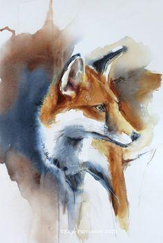 """Waiting"" by Kaye Parmenter #fox #art | follow @sophieeleana"