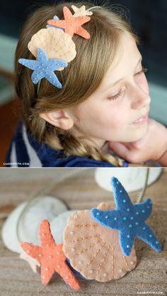 Felt Mermaid Headband - DIY and Crafts 2019 Mermaid Crafts, Mermaid Diy, Mermaid Costume Kids, Easy Felt Crafts, Felt Diy, Kids Crafts, Felt Headband, Baby Headbands, Headband Crafts