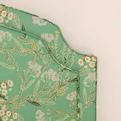 Amazing upholstered headboard at the home of 💚 Nursery Wallpaper, Girl Decor, Big Girl Rooms, Drapery Fabric, Furniture Projects, Color Patterns, Outdoor Blanket, Floral Prints, Photo And Video