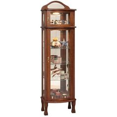 Amish Rectangular Bonnet Top Curio Cabinet Add depth to any space with an elegant, customized curio. The Bonnet Top is built in Amish country. Glass or wood shelves, mirrored back, plate grooves, touch light and more. #curiocabinet Amish Country, Vintage Plates, Glass Etching, Wood Shelves, Cabinet Doors, China Cabinet, Furniture, Home Decor, Vintage Signs