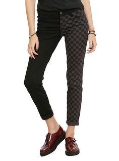Royal Bones By Tripp Black & Grey Checkered Split Leg Skinny Jeans, GREY