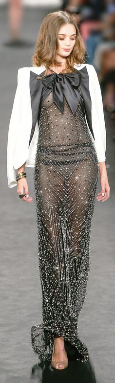 Naeem Khan ~ Gorgeous Shimmering Evening Gown, Black, SS 2015