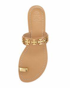 Tory Burch Val Patent Toe-Ring Sandal, Camellia