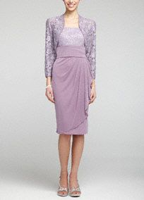 Timeless and polished, this 3/4 sleeve lace jacket dress is a statement all its own!  Sleeveless bodice features dazzling sequin lace detail.  Ruched sash empire waist and side draped skirtadds movement and creates a refined stunning silhouette.  Delicate and feminine 3/4 sleeve jacket adds just the right amount of coverage.  Fully lined. Back zip. Imported poly/spandex/rayon/nylon blend. Dry clean.