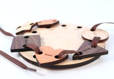 Wooden Lacing And Tracing Toy Set - Educational, All Natural, Montessori…