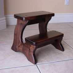 Step Stool Furniture Wooden Wood Alder Dark Walnut by LaffyDaffy, $114.99