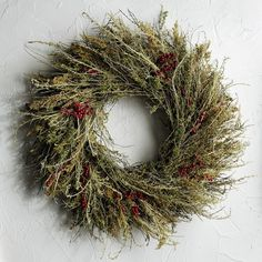 fresh wreath with wild grasses, sage brush and beautiful berries