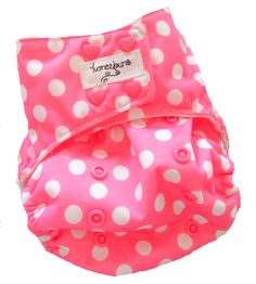 Pink White Dots One Size Pocket Cloth Diaper with Bamboo Organic Cotton inserts