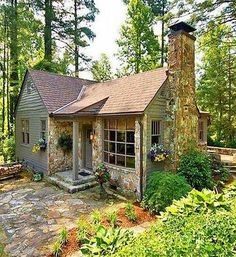 42 Peaceful Tiny House Design to Copy Right Now The totally free ti. - 42 Peaceful Tiny House Design to Copy Right Now The totally free tiny house plans belo - Stone Cottages, Small Cottages, Cabins And Cottages, Stone Cottage Homes, Log Cabins, Cottage In The Woods, Cottage Style, Lake Cottage, Mountain Cottage