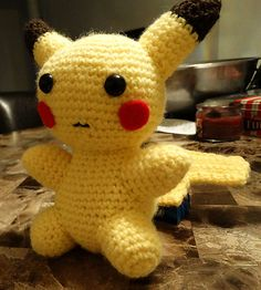 This is a crochet Pikachu patterns that I made. The final product measures 7 inches tall by 5 inches width.