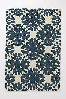 Coqo Floral Rug - Anthropologie.com Navy and cream. Living room or entry?