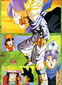 Trunks, Pan, Giru, and Goku ,Gt dbz , Trunks looks cute as a girl lol