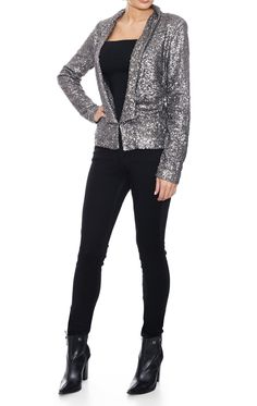 Cool, sexy and a real show stopper, perfect for the adding sparkle to your outfit all year round. Get your disco diva on with this sharply cut, long sleeved jacket in gun metal grey silver for a busty girl jacket with a difference. Add a modern twist to a