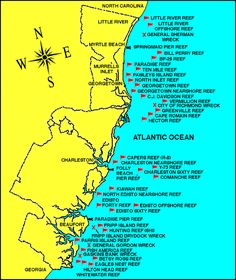 Locations of Artificial Reefs and Wrecks in South Carolina