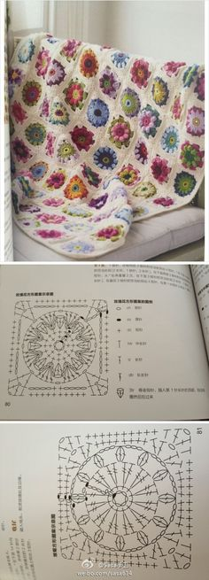 Crochet Squares Patterns Chart for crochet granny square. Pattern is Asian, but there is a chart. Really beautiful! Point Granny Au Crochet, Grannies Crochet, Crochet Motifs, Granny Square Crochet Pattern, Crochet Blocks, Crochet Diagram, Crochet Chart, Crochet Squares, Crochet Stitches