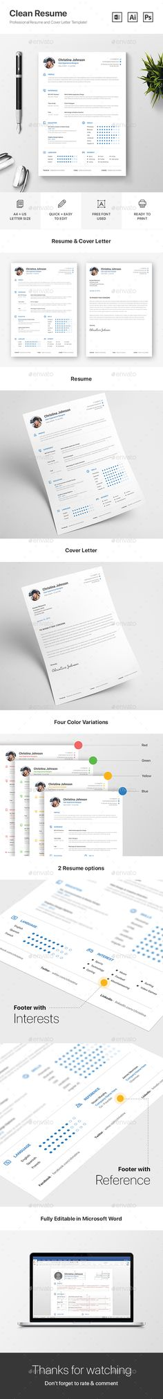 63 best best ms word resume templates images on pinterest resume resume this is a resume cv template with very modern and clean look this thecheapjerseys Images