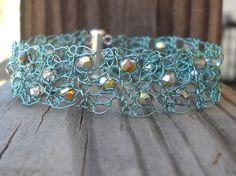Seafoam Green and Silver Metallic Crystal Wire Crochet Bracelet Plus Size Hypoallergenic. $28.00, via Etsy.