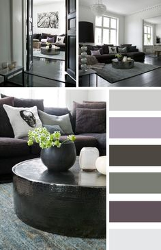 Pure Living* Home: White - grey - smoky violett-- love the pallet. Robbie would hate it though- not warm enough