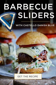 Blue cheese burger, but make it a slider! Pin Barbecue Sauce Sliders with Castello Danish Blue cheese to your summer grilling ideas board today. Get more grilling & BBQ ideas here. Burger Buns, Good Burger, My Favorite Food, Favorite Recipes, Blue Cheese Burgers, Hamburgers, Appetizer Recipes, Shrimp Recipes, Appetizers