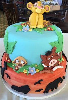 Lion King themed baby shower cake.