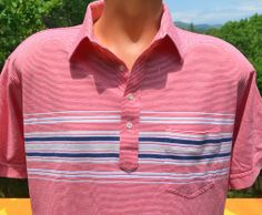 vintage 70s polo shirt red STRIPE golf preppy Large puritan patriotic 80s soft thin silky at SkippyHaha.com
