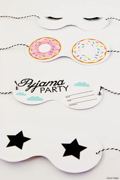 If you're hosting a sleepover, these adorable sleeping mask PJ party invitations are perfect! Pyjamas Party, Pj Party, Sleepover Party, Slumber Parties, Party Time, Pajama Party Kids, Adult Slumber Party, Neon Party, Slumber Party Invitations