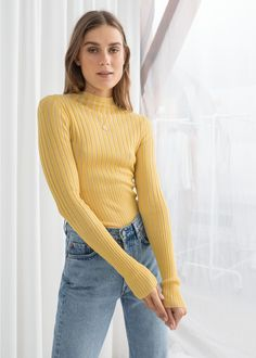 Fitted Ribbed Turtleneck - Yellow - Sweaters - & Other Stories Yellow Sweater Outfit, Turtleneck Outfit, Ribbed Turtleneck, Sweater Outfits, Fashion 101, Fashion Outfits, Duo Tone, Casual Winter Outfits, Fashion Story