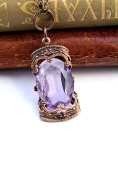Amethyst Stained Glass Window - Czech Revival Vintage Glass Necklace