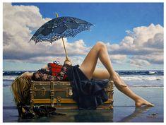 Paul Kelley's sensual art has a romantic appeal, from his figurative painting, fashion artwork, and nude art prints, to his dance artwork and Nova Scotia art. Female Images, Female Art, Figure Painting, Diy Painting, Painting Videos, Paul Kelly, Parasols, Umbrellas, Fashion Artwork