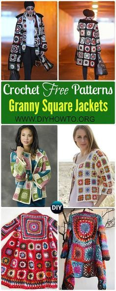 Crochet Granny Square Jacket Cardigan Free Patterns: Crochet Granny Square Fashion, Jacket, Coat, Cardigan, Coatigan in BOHO style via @diyhowto
