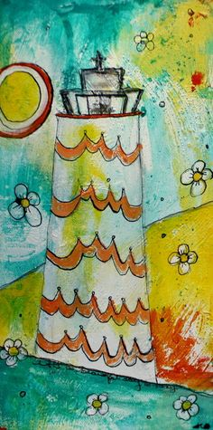 a gorgeous piece by Jodi Ohl! Love it!    Beach Art Mixed Media Acrylic Painting of a Light House by JodiOhl