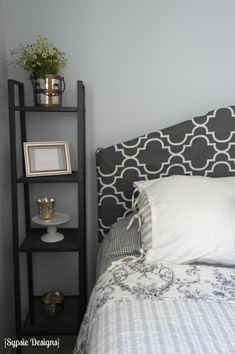 how to cover a metal headboard with a fabric slipcover, Sypsie Designs on Remodelaholic.com