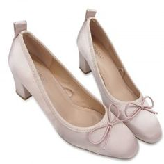 Block Heel Satin Bow Pumps - Light Pink 37 Casual Closed Toe