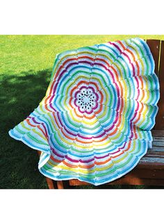 Crochet - Afghan & Throw Patterns - Assorted Patterns - A-Round the Rainbow Throw