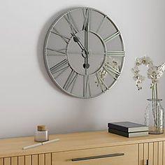 Glitter Mirrored 50cm Wall Clock Silver   Dunelm Silver Wall Clock, Mirror Wall Clock, Decorative Accessories, Home Accessories, Glitter Mirror, Kitchen Wall Clocks, Light Shades, Soft Furnishings, Modern Design